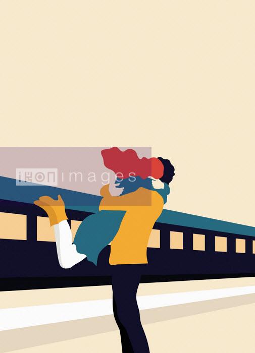 Annalisa Grassano - Young couple embracing on railway station platform