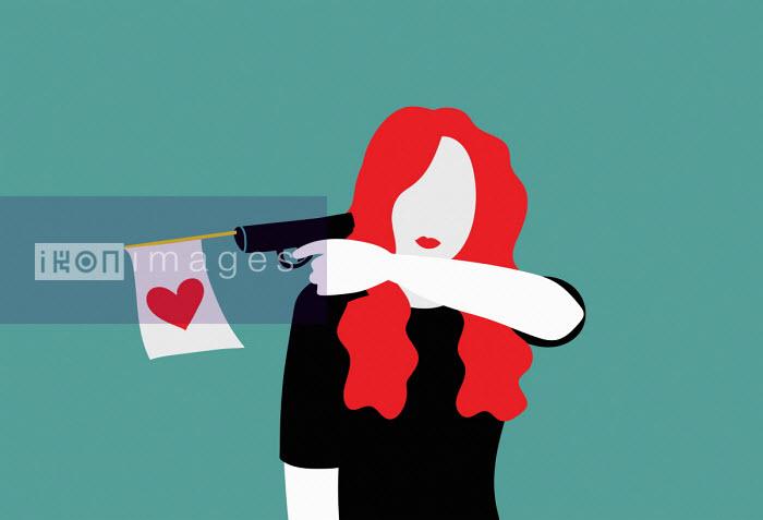 Annalisa Grassano - Woman firing heart flag from toy gun