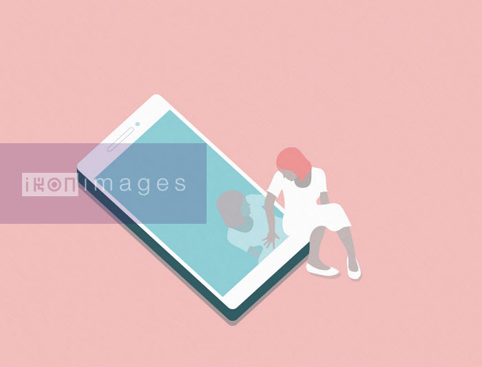Annalisa Grassano - Woman looking at her reflection in smart phone screen