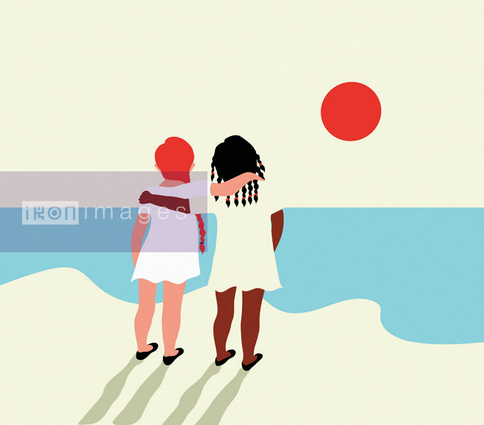 Annalisa Grassano - Two little girls with arms around each other looking out to sea