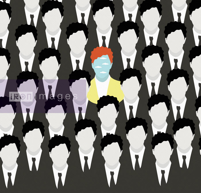 Man standing out from the crowd among rows of identical businessmen - Annalisa Grassano