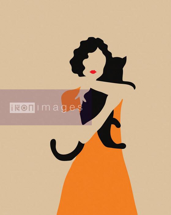 Annalisa Grassano - Woman hugging black cat
