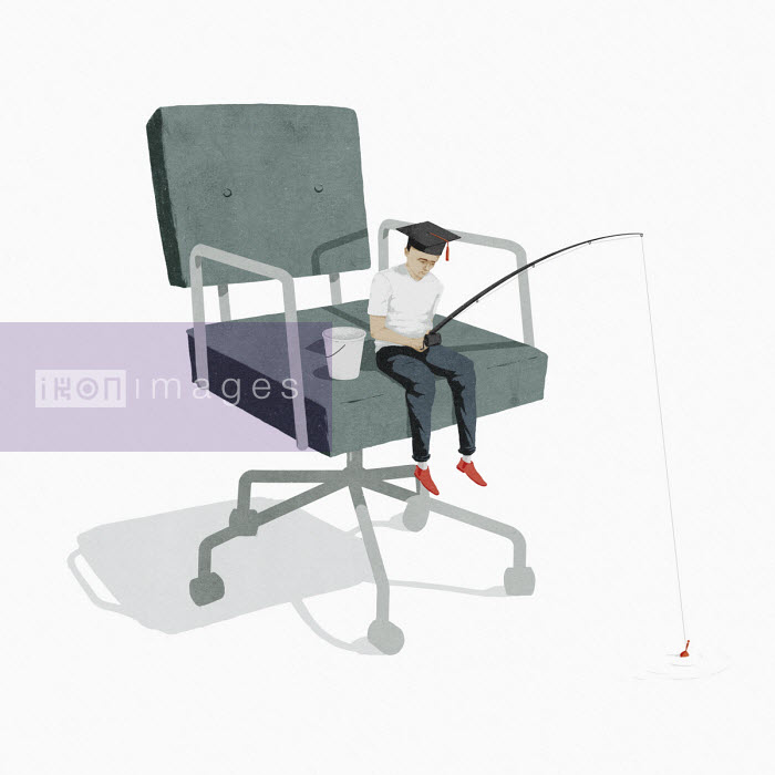 Hendrik Dahl - Small graduate fishing sitting on oversized office chair