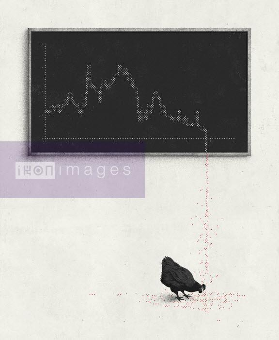 Hendrik Dahl - Declining graph ending as chicken feed