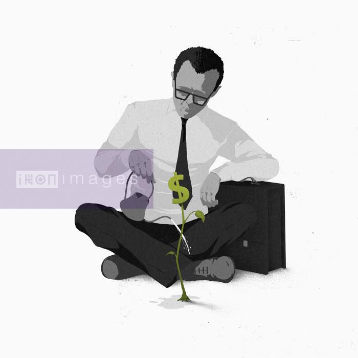 Hendrik Dahl - Businessman watering dollar plant