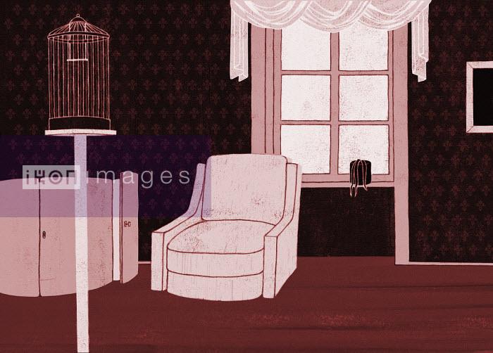 Hendrik Dahl - Empty birdcage and armchair in living room