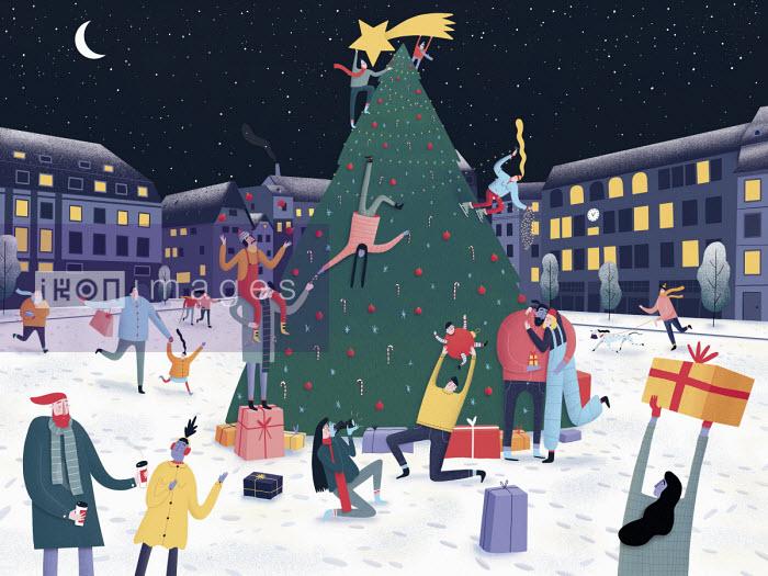 Lorenza Cotellessa - People having fun around Christmas tree in town square