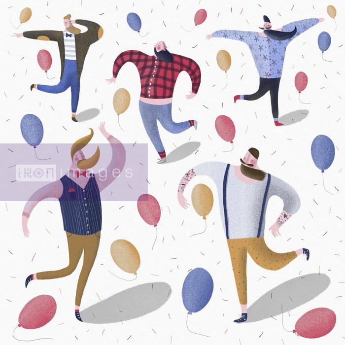 Hipster men dancing at party - Lorenza Cotellessa