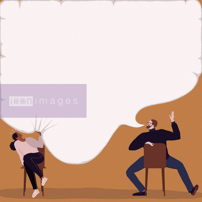 Alice Mollon - Woman being squashed by man's speech bubble