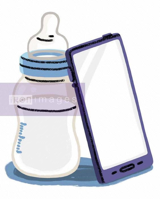Elly Walton - Smart phone next to baby's bottle