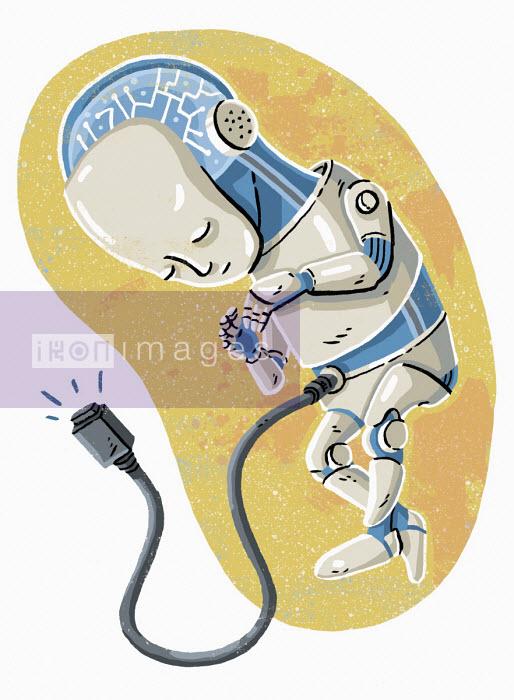 Robot foetus in womb - Eva Bee