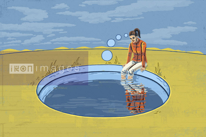 Eva Bee - Woman dangling feet in thought bubble pool