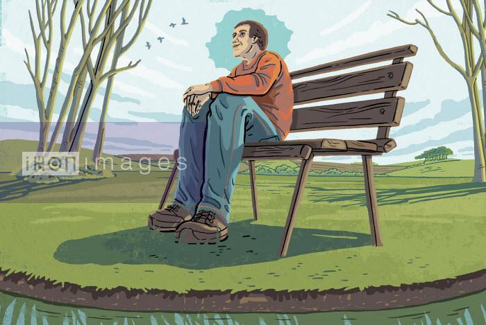 Eva Bee - Man sitting on bench enjoying tranquility
