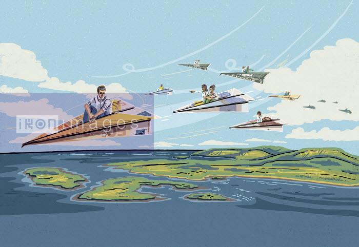 People travelling on euro paper planes - Eva Bee