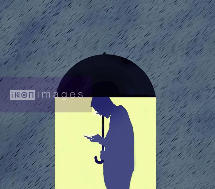 Gary Waters - Man using phone under umbrella oblivious to rain