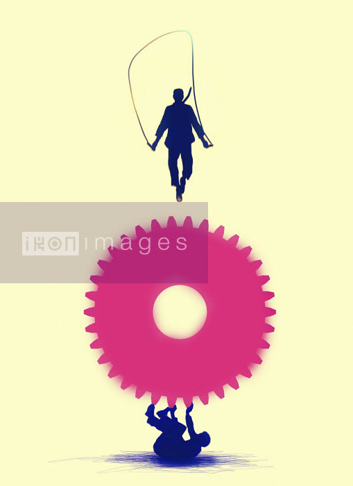 Gary Waters - Businessman skipping on cog above man struggling to support him