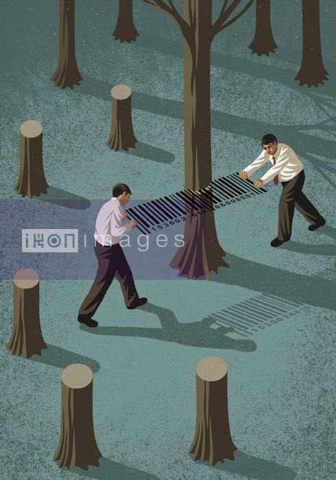 Businessmen cutting down trees with barcode saw - John Holcroft
