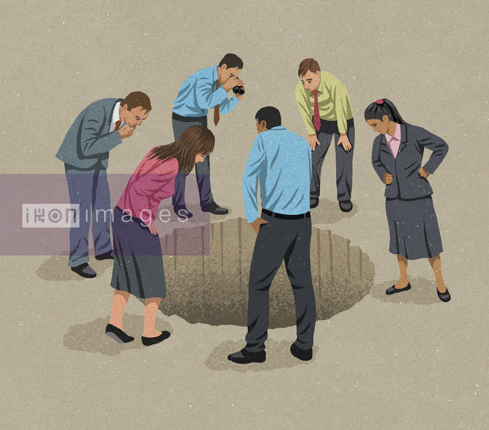 John Holcroft - Business people looking down into hole