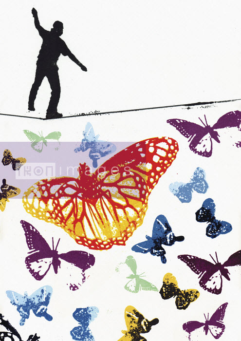 Man walking tightrope above colourful butterflies - Katie Edwards