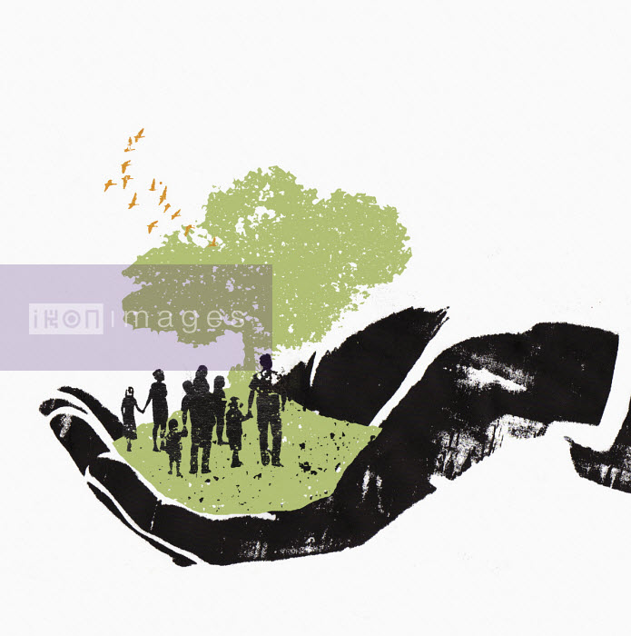 Katie Edwards - Hand holding families in green environment