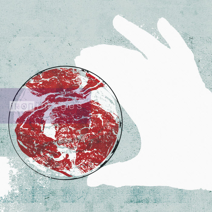 Lee Woodgate - Hand holding petri dish containing raw meat