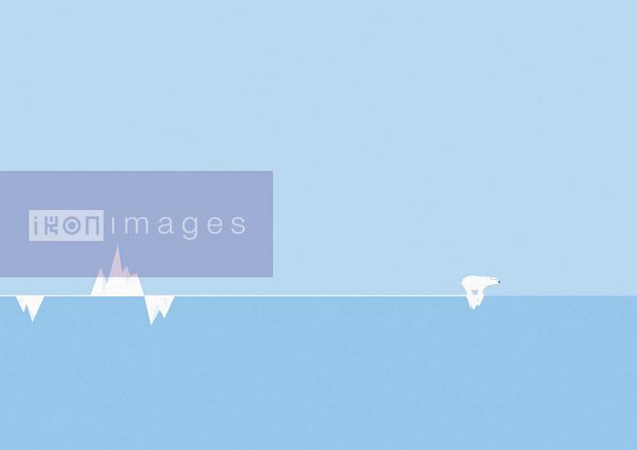Polar bear on small iceberg at end of graph - Oscar Armelles