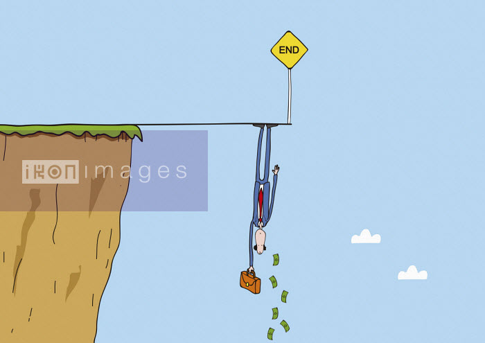 Oscar Armelles - Businessman dangling upside down from the end of the line
