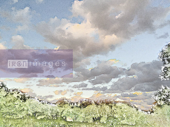 Cloudy sky over pixelated landscape - Studio Parris Wakefield