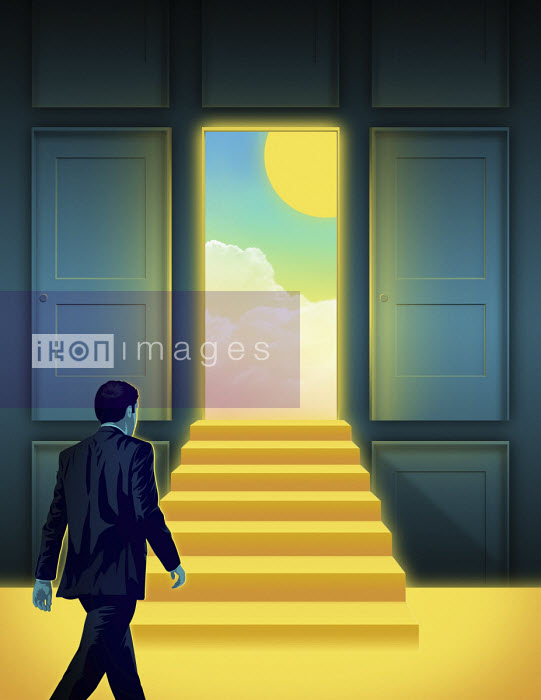 Taylor Callery - Businessman approaching sunny day through open door