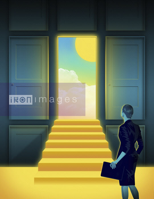 Taylor Callery - Businesswoman approaching sunny day through open door