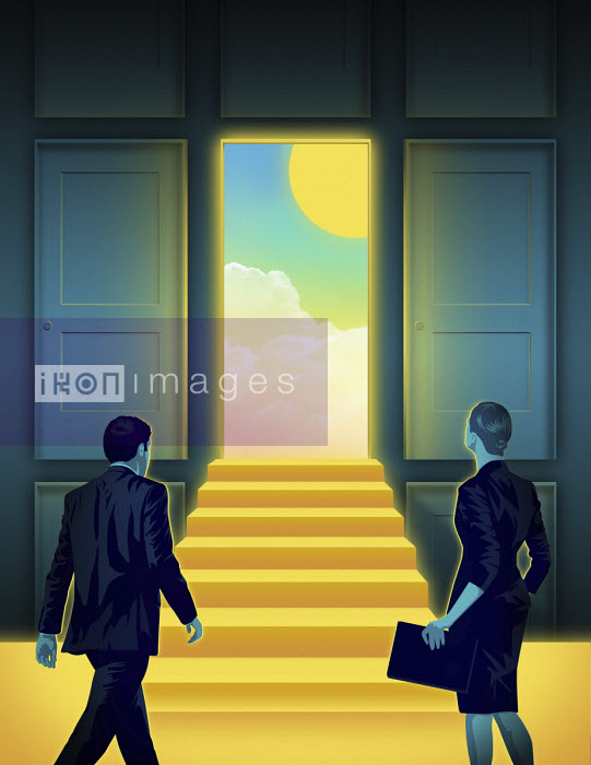 Taylor Callery - Businessman and businesswoman approaching sunny day through open door