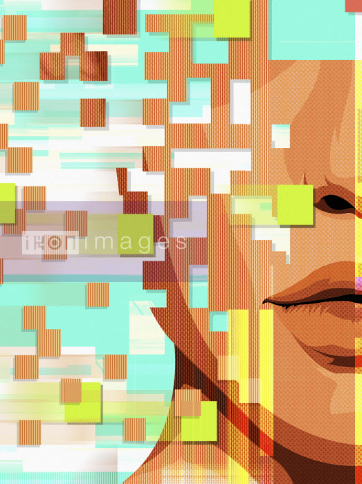 Taylor Callery - Human face breaking up into pixels