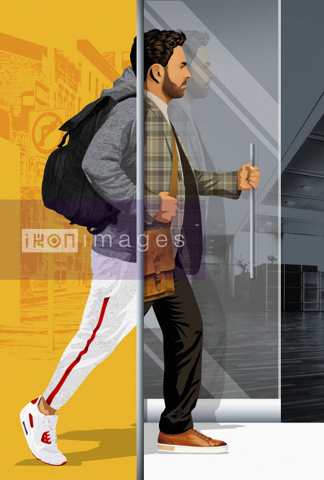 Taylor Callery - Man entering office building changing style from casual to business wear