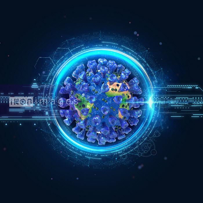 Digital technology and computer generated coronavirus as world map - Oliver Burston