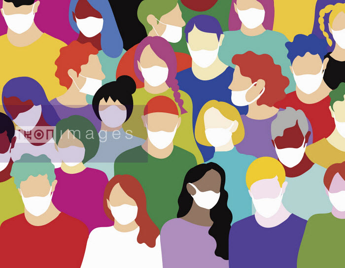 Annalisa Grassano - Crowd of people wearing surgical face masks