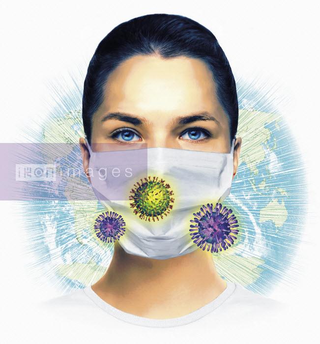 Woman wearing mask, world map and virus organisms - Thomas Kuhlenbeck