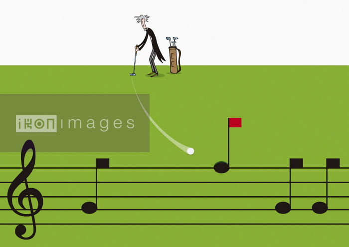Classical musician hitting golf ball into musical note golf hole - Oscar Armelles