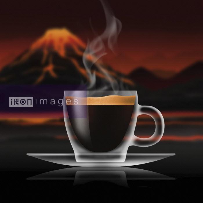 Glass of espresso coffee in volcanic landscape - Nick Purser