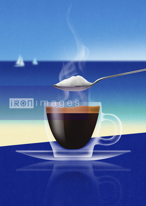 Spoonful of sugar over glass of espresso at the coast - Nick Purser