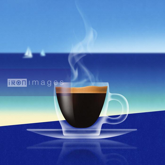 Glass of espresso at the coast - Nick Purser