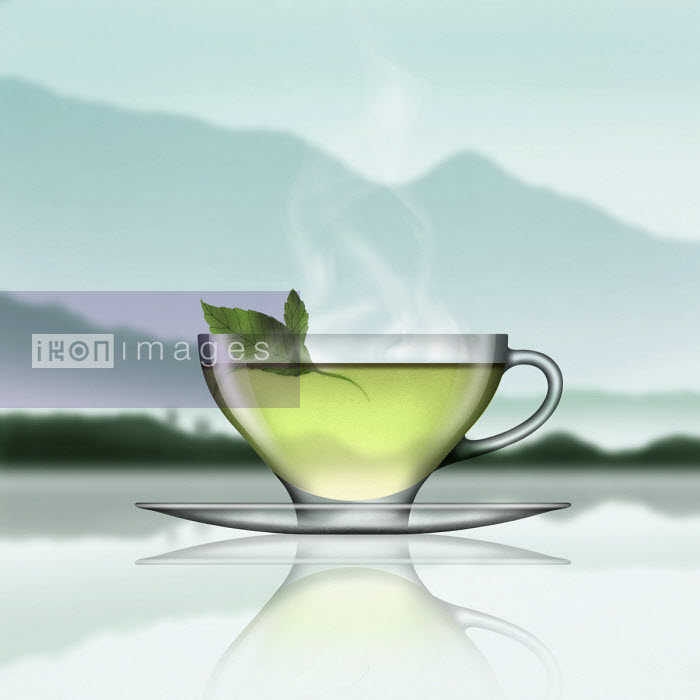 Glass of mint tea in tranquil landscape - Nick Purser