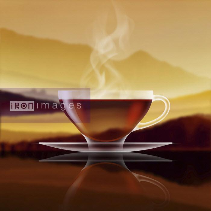 Glass of black tea in golden landscape - Nick Purser