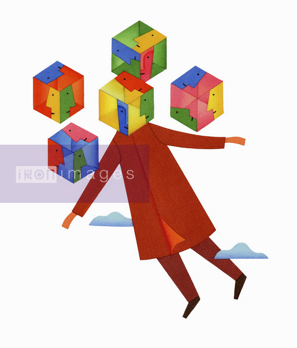 Man floating in sky with choice of square heads - Yenpitsu Nemoto