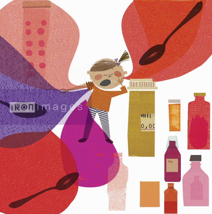 Little girl and cough medicine - Donna Grethen