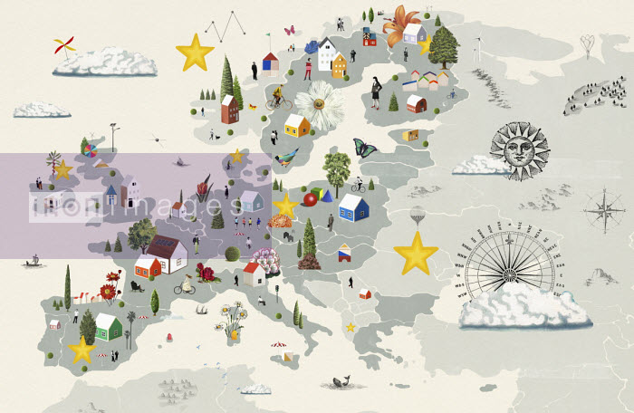 Illustrated map of Europe - Valero Doval