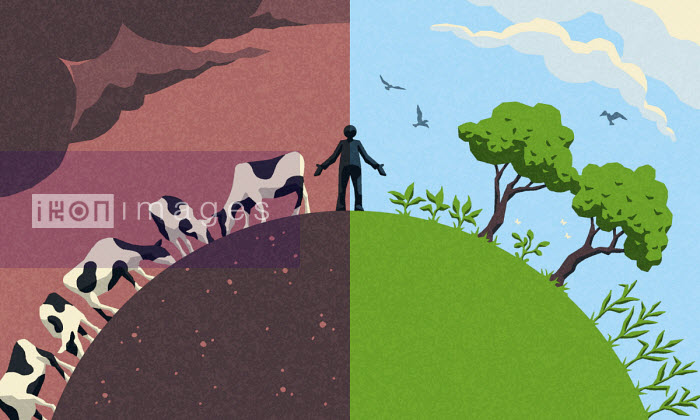 Man bestriding world half with cattle and half with plants - Matt Kenyon