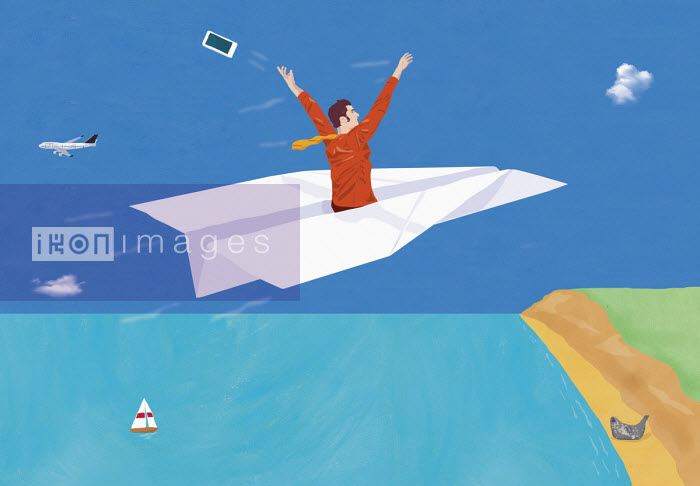 Man throwing phone away as flies off on paper airplane - Gary Bates
