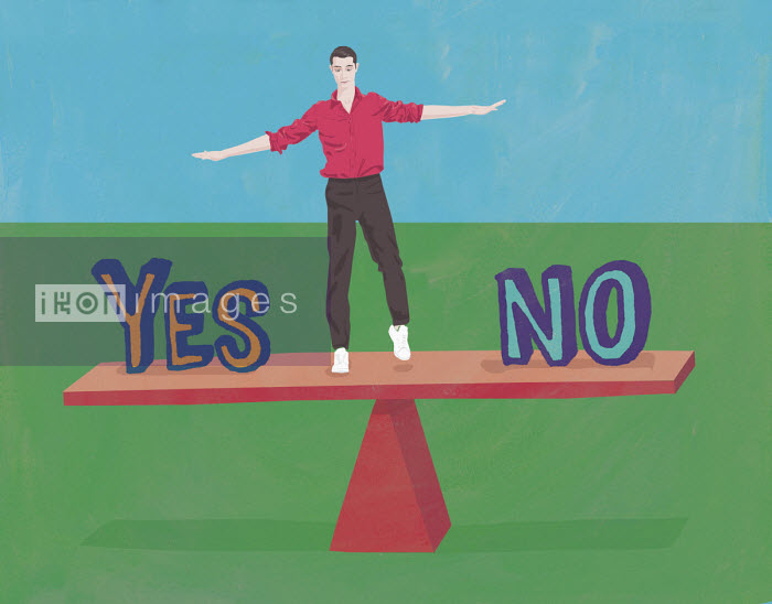 Undecided man balancing on yes or no seesaw - Gary Bates