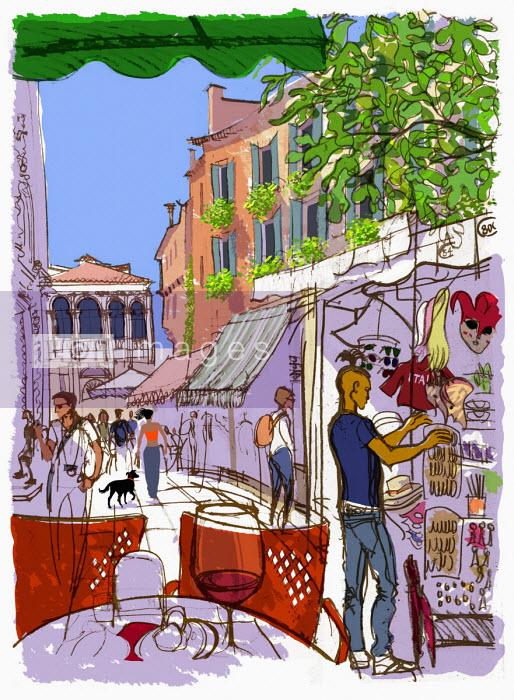 Tourists browsing street market in Venice - Jan Bowman
