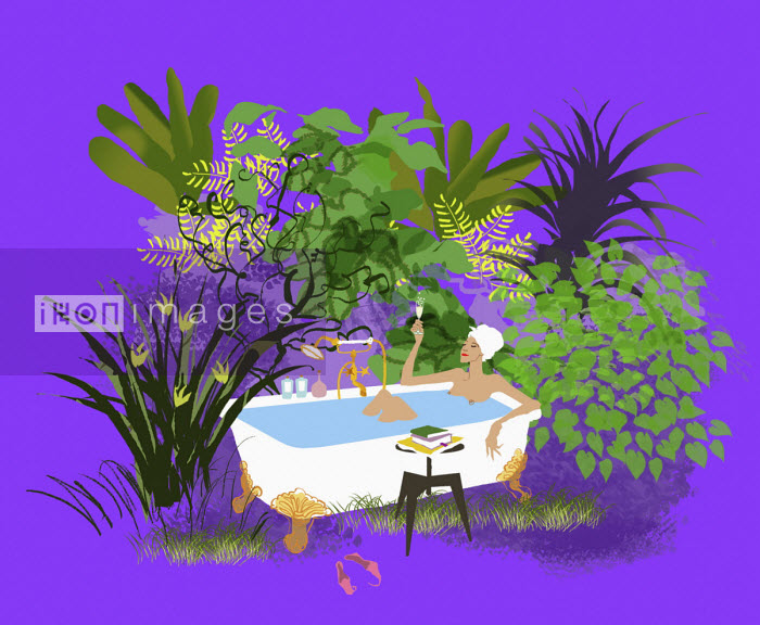 Woman relaxing in bath surrounded by lush foliage - Jan Bowman